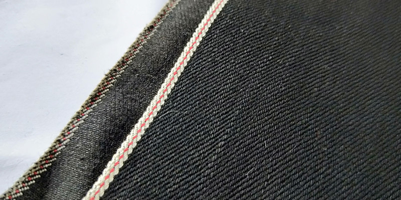 13.1oz 100%cotton black black Japanese Selvage Denim Fabric W05727C-7