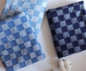 10oz 100%Cotton Jacquard Blue Checkered Fabric Washed Denim Material W068
